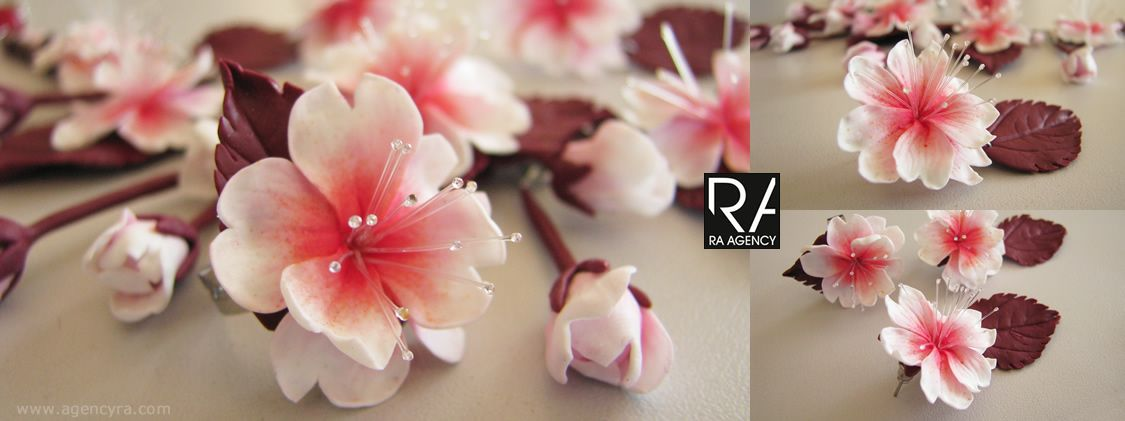 cherry blossoms polymer clay parure 3