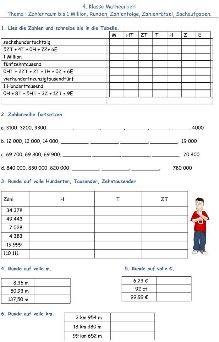 Klassenarbeit zu Zahlenraum bis 1000000 | Mathe | Pinterest ...
