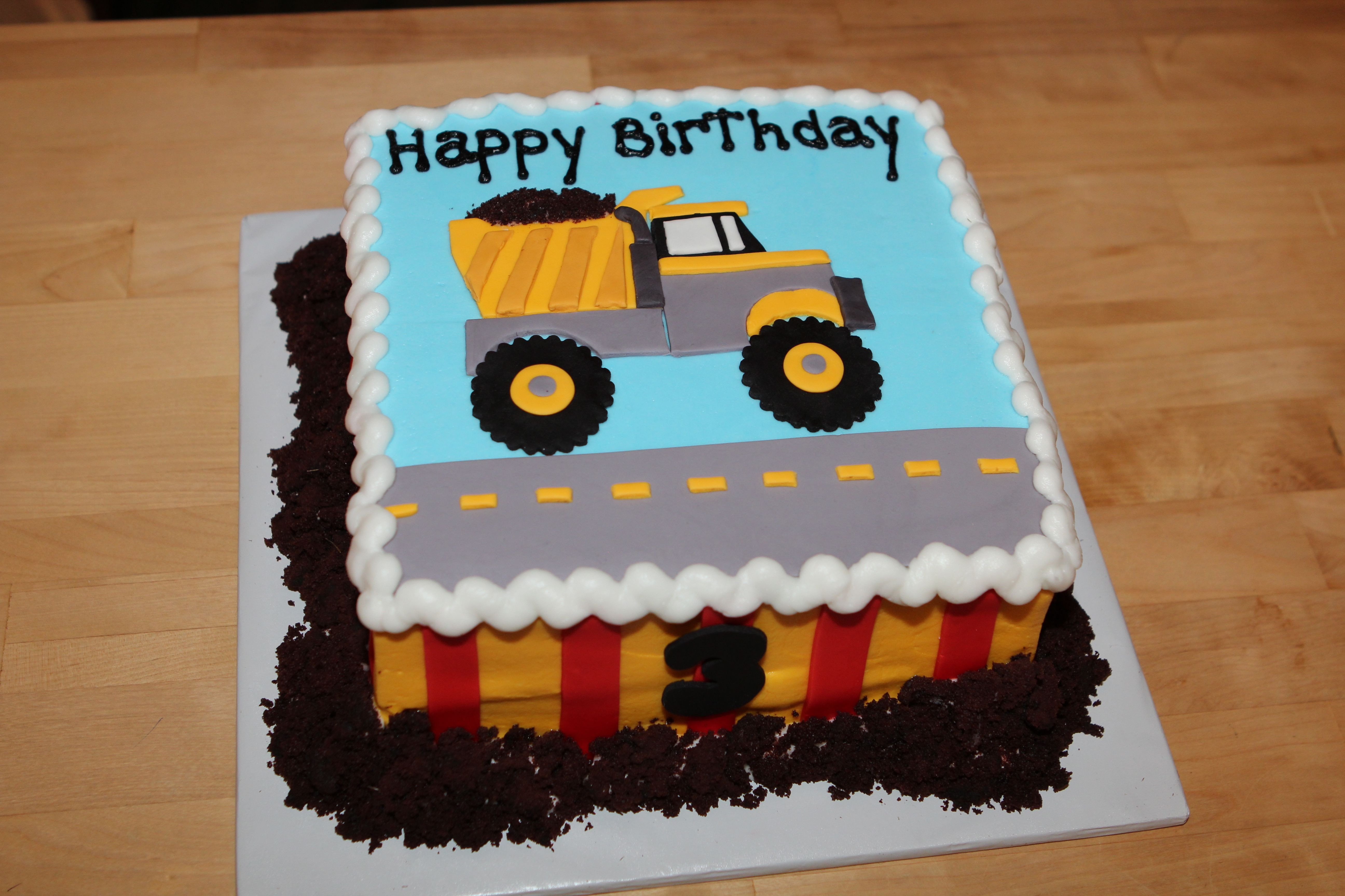 Phenomenal Dump Truck Cake For Our Sons 3Rd Birthday Birthday Sheet Cakes Personalised Birthday Cards Beptaeletsinfo