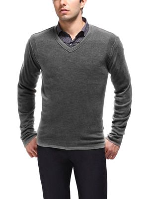 A well fitting v neck sweater over a button down shirt for Sweater over shirt men