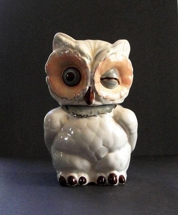 Vintage Authentic Shawnee Winking Owl Cookie Jar Made In Usa Owl Cookie Jar Antique Cookie Jars Cookie Jars Vintage