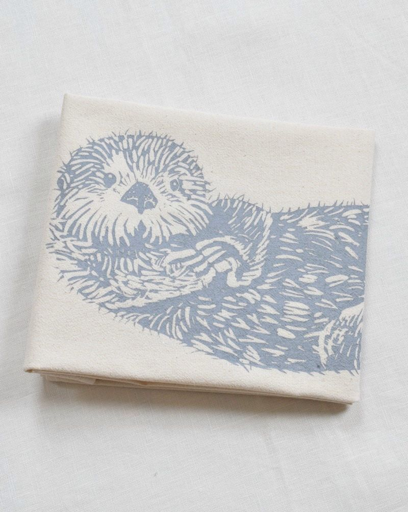 Otter Tea Towel - Kitchen Towel - Flour Sack Towel - Cotton ...