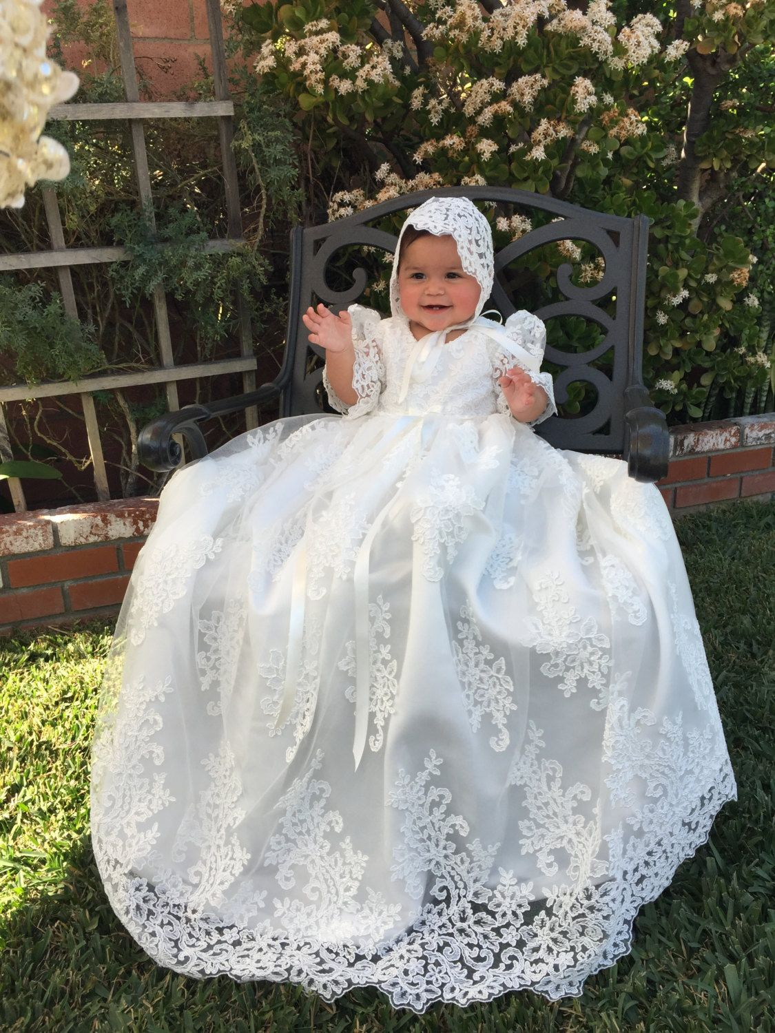 10947c14ebf1 Stunning Alencon Lace Christening Gown Baptism dress by Caremour