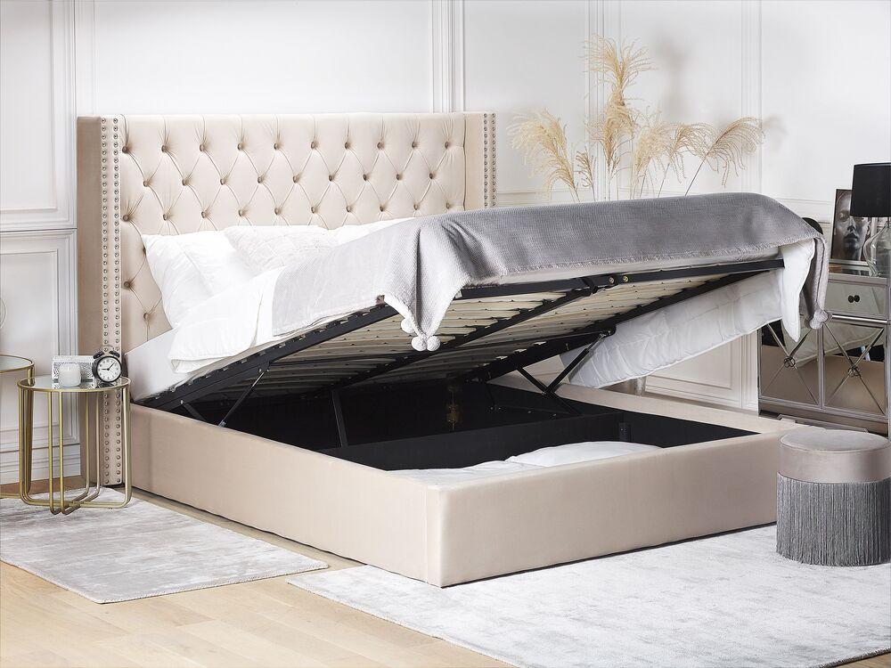 lit double en velours beige avec