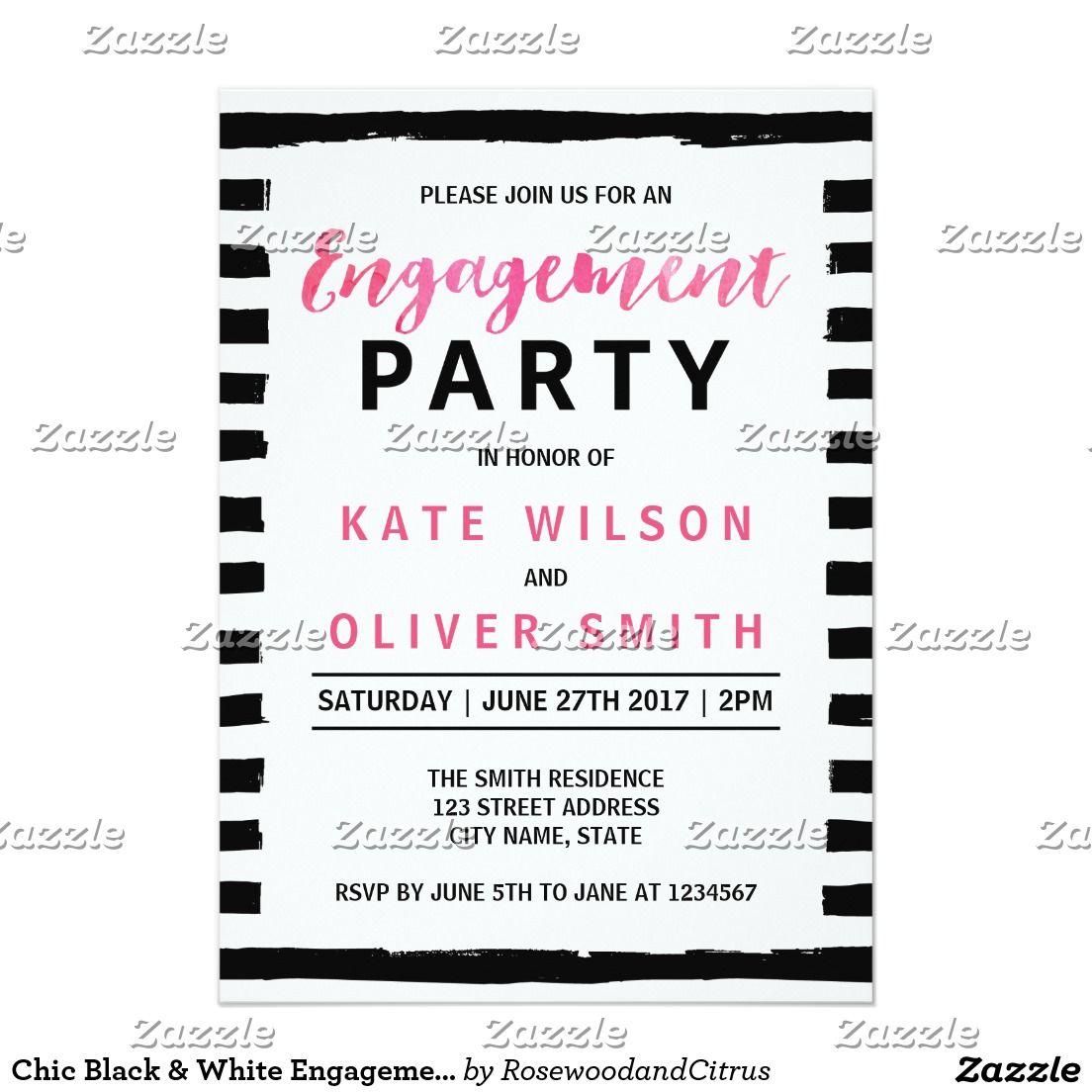 Chic Black & White Engagement Party Invitation | WEDDING Invitations ...