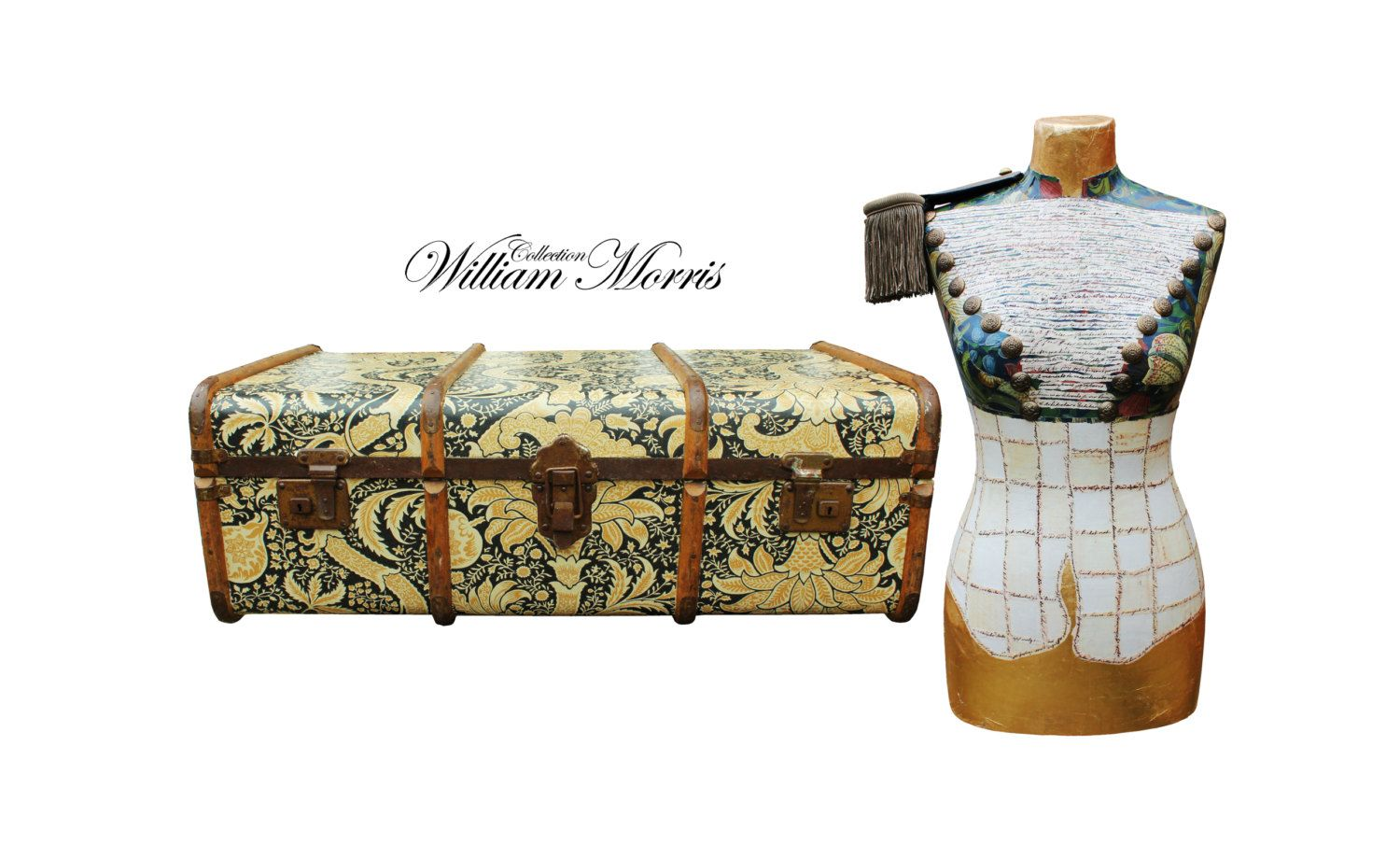Set of steamer trunk and bust morris wallpaper vintage coffee table