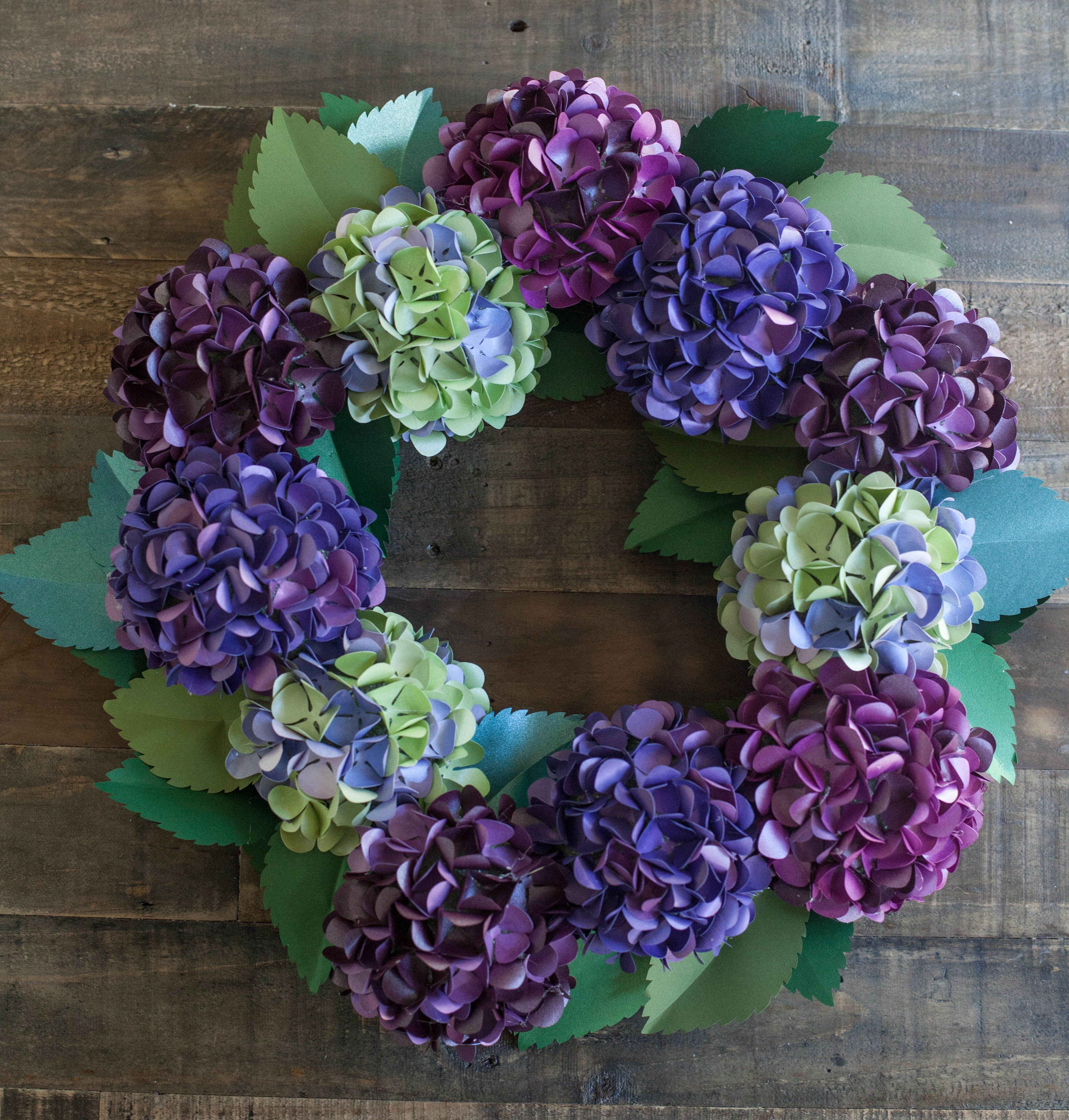 Paper Hydrangea Wreath Hydrangea Wreaths And Tutorials