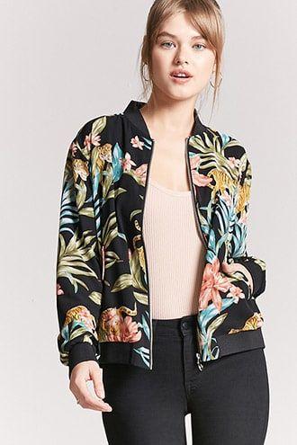 850594a1c Floral Tiger Bomber Jacket | Forever 21 | Bomber jacket, Jackets ...