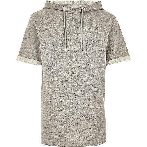 Grey short sleeve hoodie sweatshirt - sweatshirts - hoodies ...