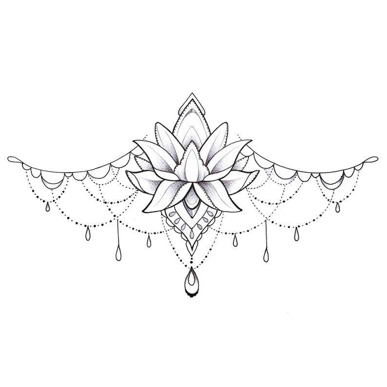 Lotus Underboob Tattoo - Temporary Tattoo
