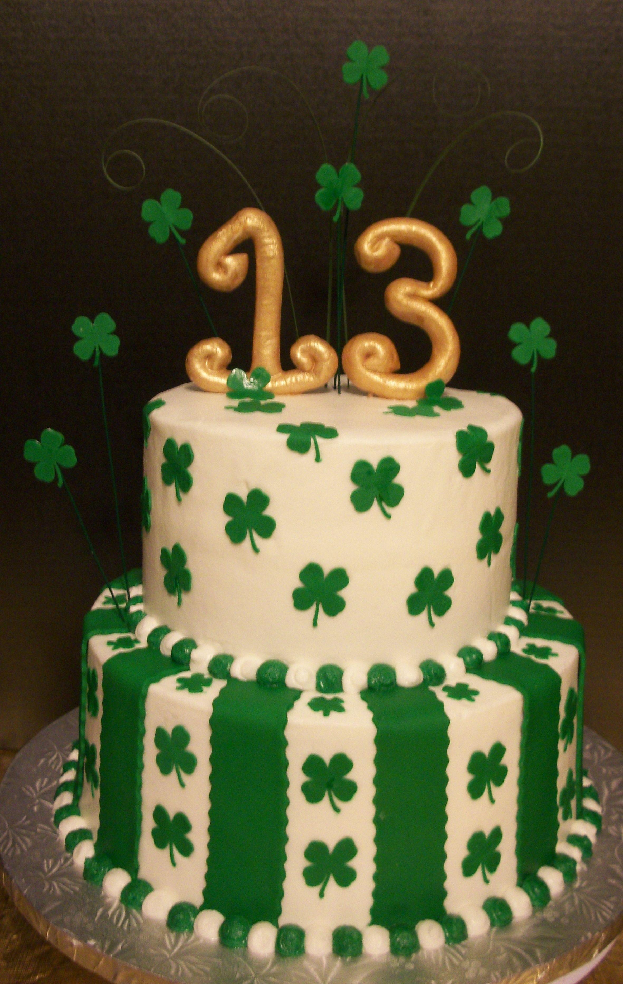 Miraculous Shamrock Themed Birthday Cake St Patricks Day Cakes 80 Birthday Birthday Cards Printable Trancafe Filternl