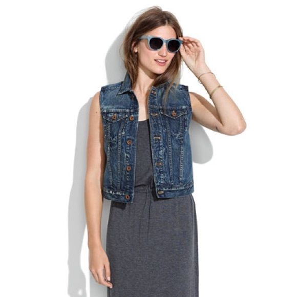 Madewell Denim Vest This is the perfect denim vest! Worn numerous times, but still in excellent condition. Has pockets. Denim isn't as dark as the stock model photo from washing, but it's still a dark denim shade as seen in actual photos. Madewell Jackets & Coats Vests
