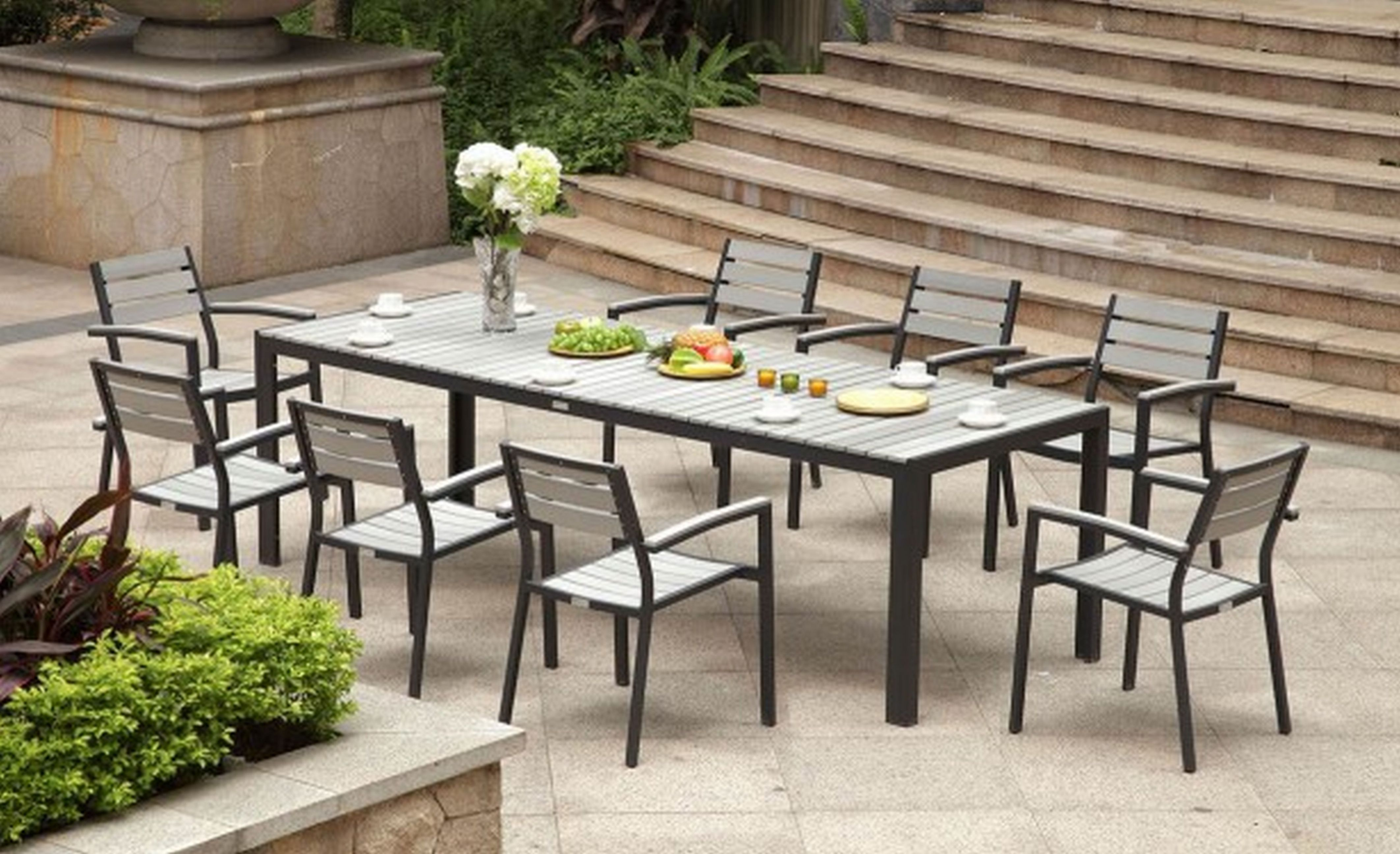 Amazing Aluminum Outdoor Furniture By Kettal With Large Black Dining Table Chair Stool And Flower Dec