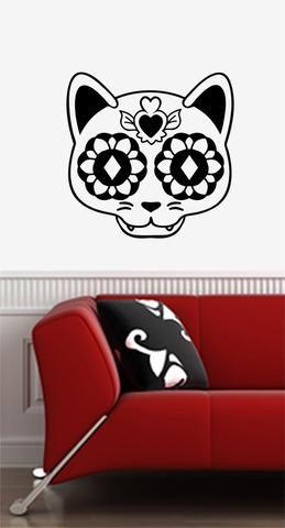 WALL Sugar Skull Cat Day Of The Dead Día De Los Muertos - Vinyl decal cat pinterest