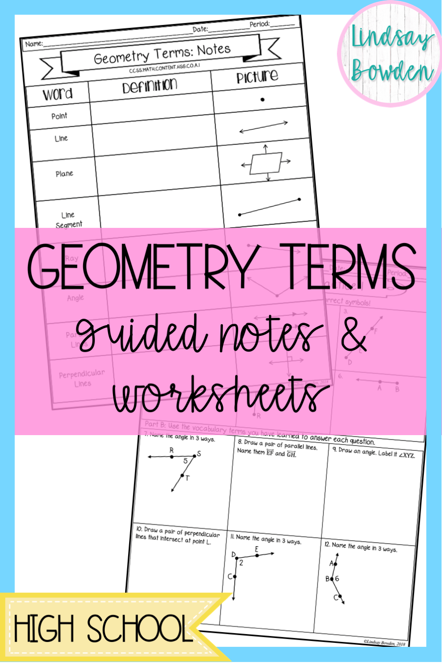 Geometry Vocabulary Lesson With Guided Notes And Worksheets This Lesson Covers The Basic Geometry Terms Great Guided Notes Geometry Answers Geometry Lessons [ 1350 x 900 Pixel ]