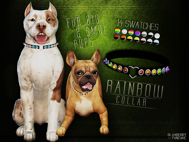 Sims 4 CC's The Best Rainbow Collar for Pets by