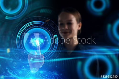 Business, Technology, Internet and network concept. Young businessman working on a virtual screen of the future and sees the inscription: #Ad , #ad, #network, #concept, #Young, #Business, #Technology