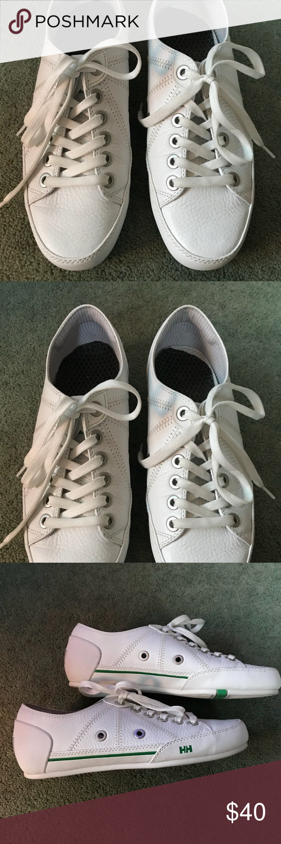 Mens Helly Hansen Leather tennis shoes Mens Helly Hansen White Leather Tennis Shoe size 7. They are in Excellent Condition with barely any wear! Please feel free to ask any questions. Helly Hansen Shoes Sneakers