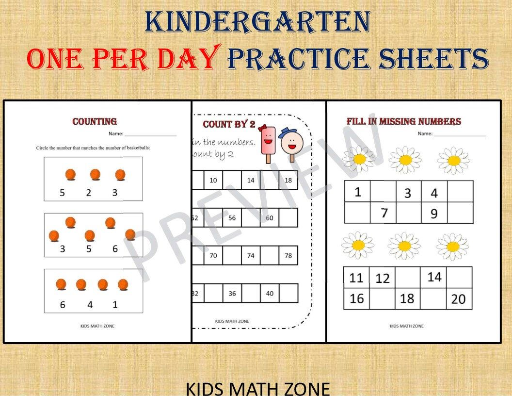 KINDERGARTEN MATH BUNDLE one per day (70 Worksheets