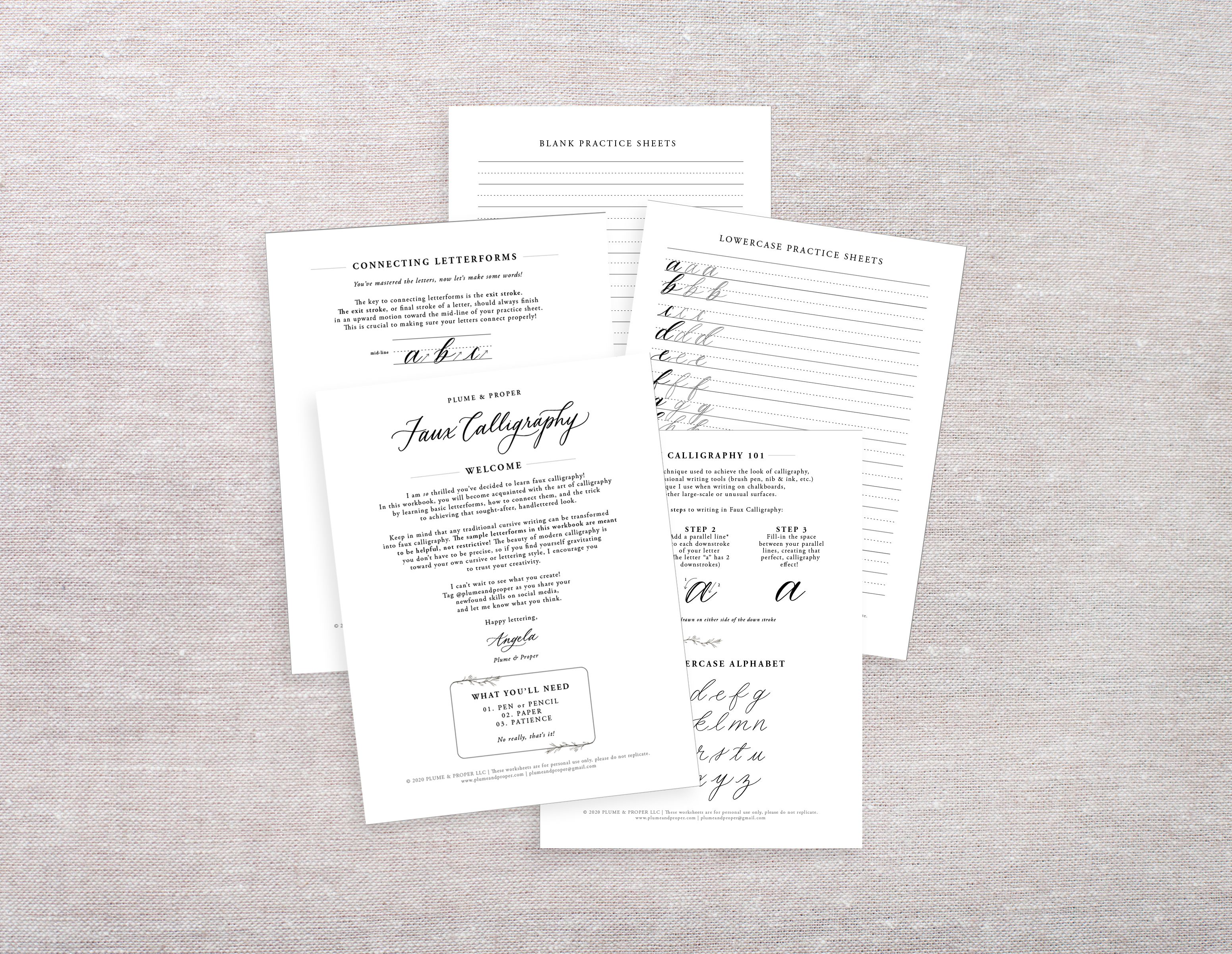 Printable Faux Calligraphy Worksheets In