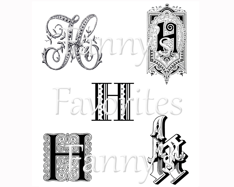 5 Vintage Letter H Monograms H Initials Graphic Monogram Etsy In 2020 Vintage Lettering H Monogram Lettering Alphabet
