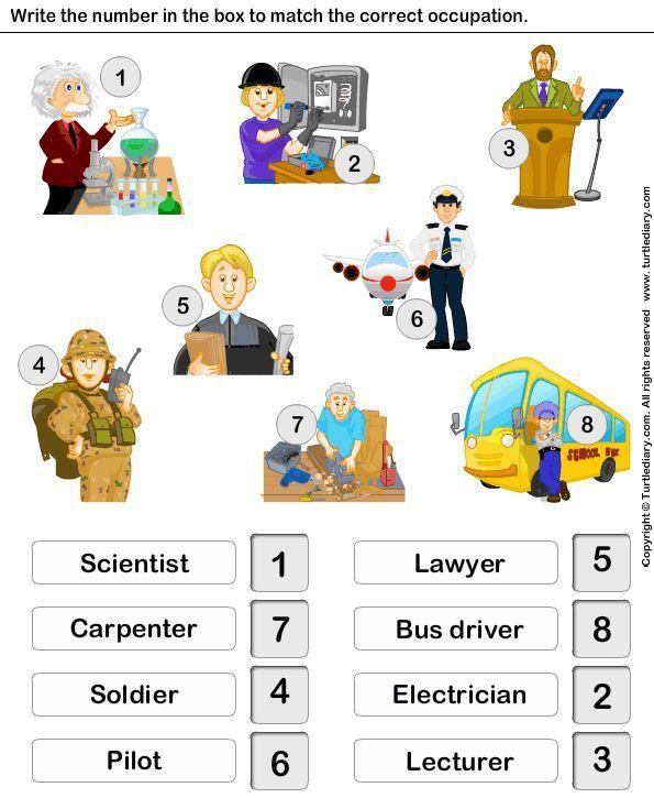 Jobs and OccupationsWorksheet 9TurtleDiary – Kindergarten Worksheets Online