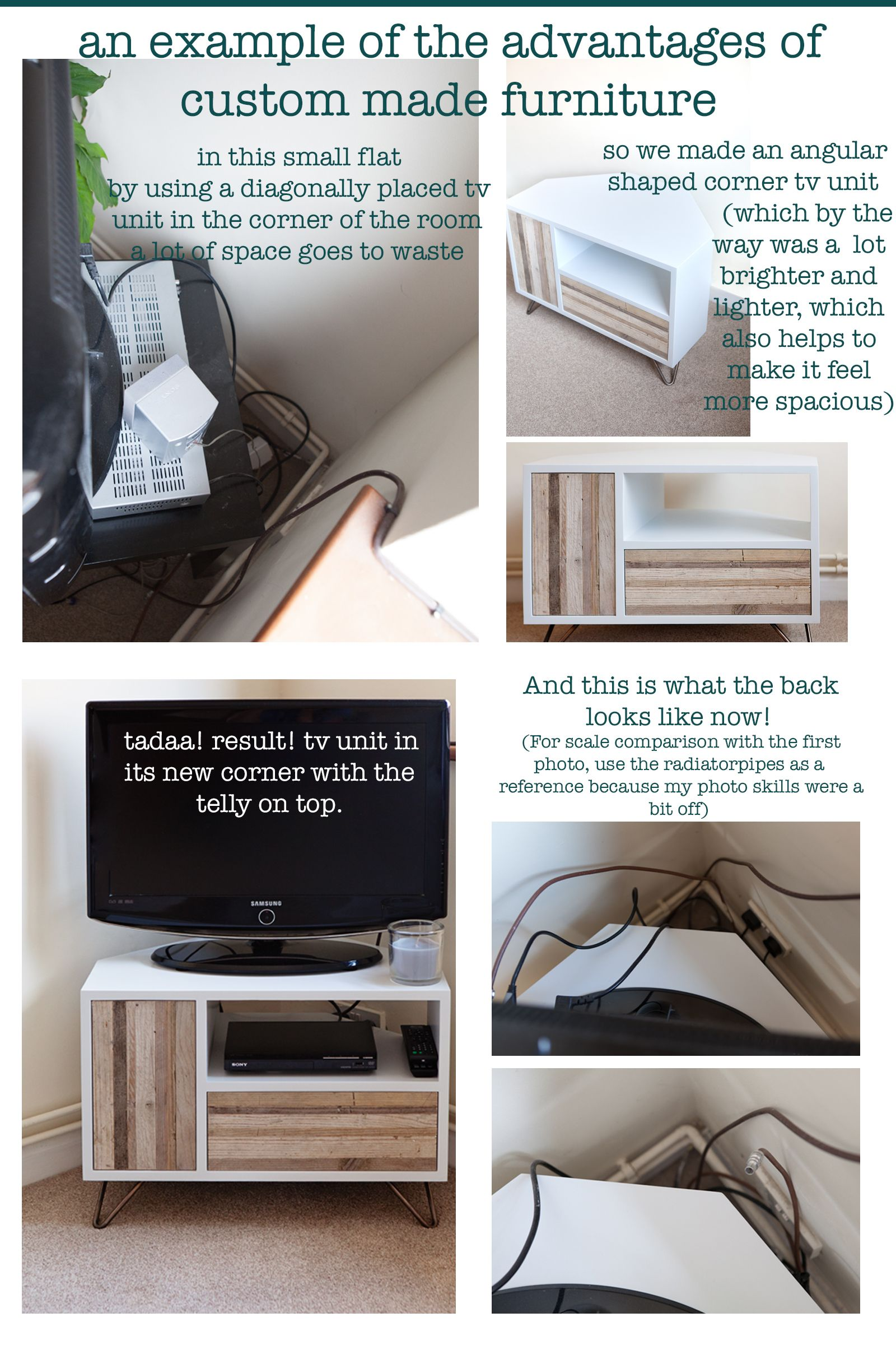 Space saver custom made angular television unit made to fit in a