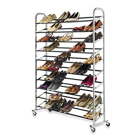 Now You Can Keep All Of Your Shoes Neatly And Securely Organized With The 60 Pair Rolling Shoe Rack This Terrific Durable Ch Shoe Rack Shoe Organizer Whitmor