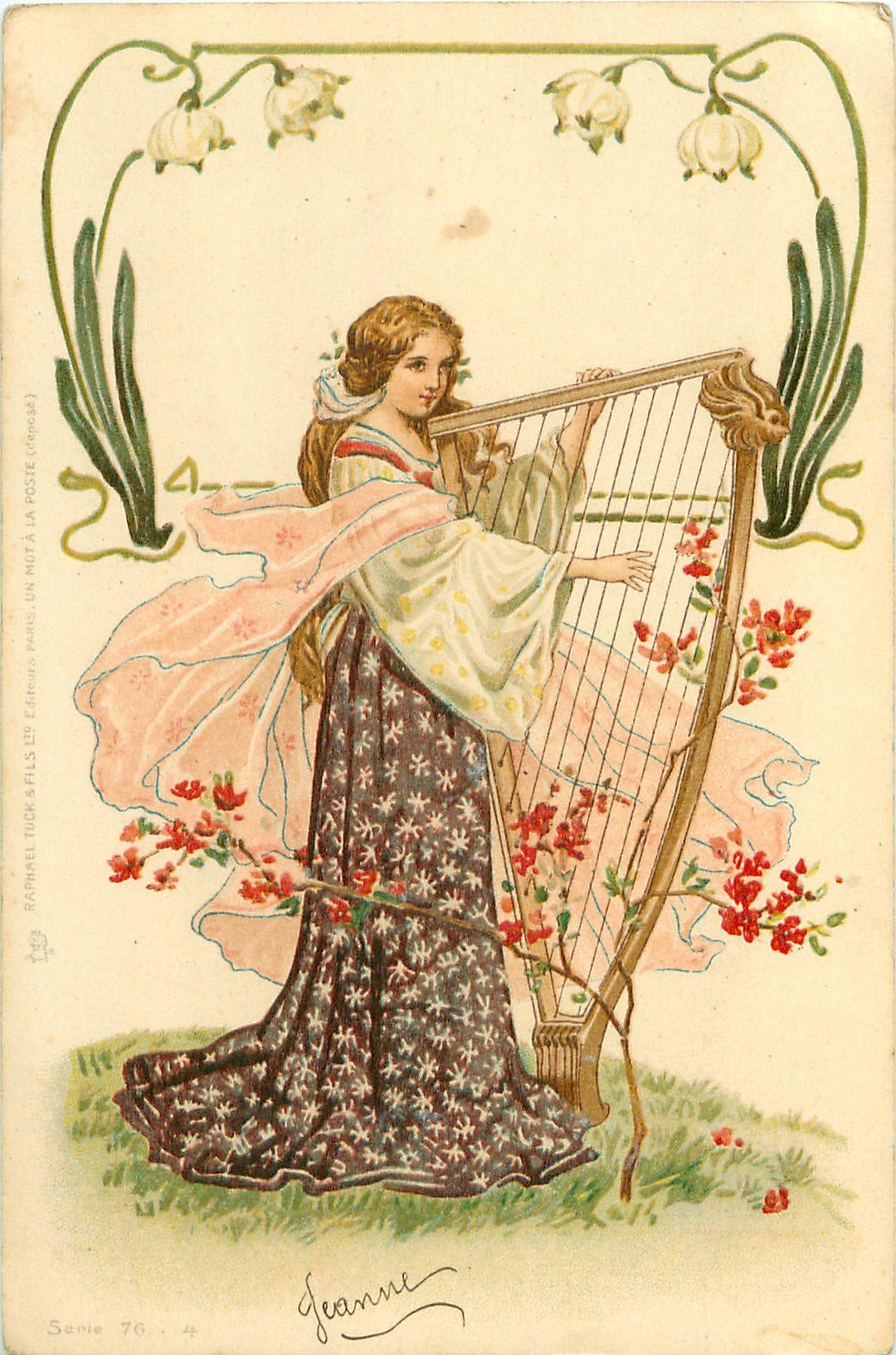 woman plays medieval harp,Tuck postcard.   Art Nouveau ...