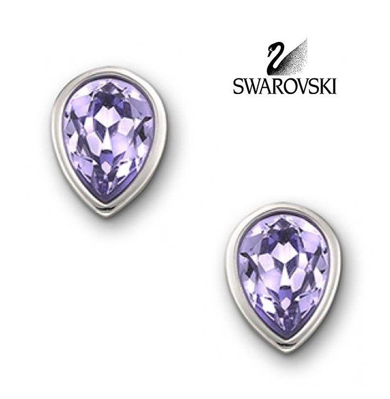 Swarovski Lavender Crystal JEWELRY Pierced Earrings Water Drops MILA #1137507