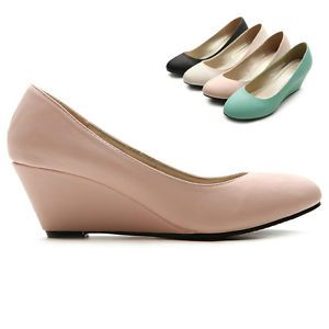 ollio Womens Pumps Platforms Slip-on Medium Wedge Heels Multi ...