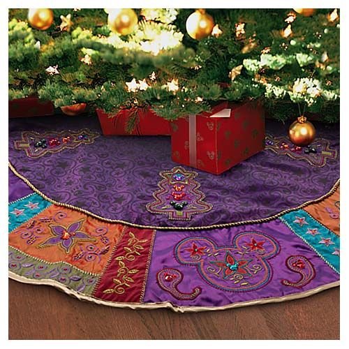 Your WDW Store   Disney Christmas Holiday Tree Skirt   Bohemian Mickey Mouse    Purple