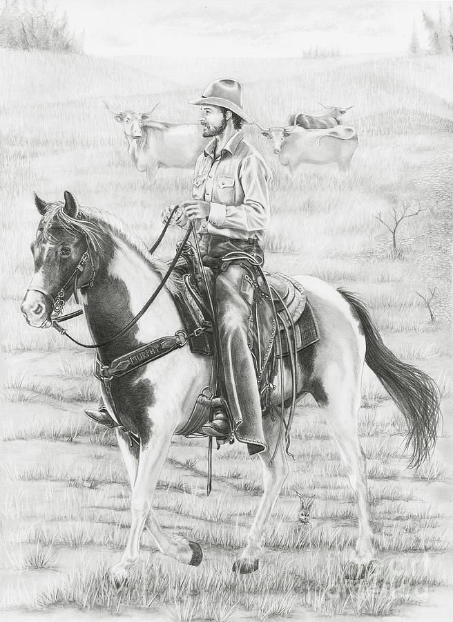 Pencil Drawings Of Cowboys And Horses Western Horse Drawings