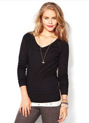 Garage- Black Long Sleeve V-Neck Tee