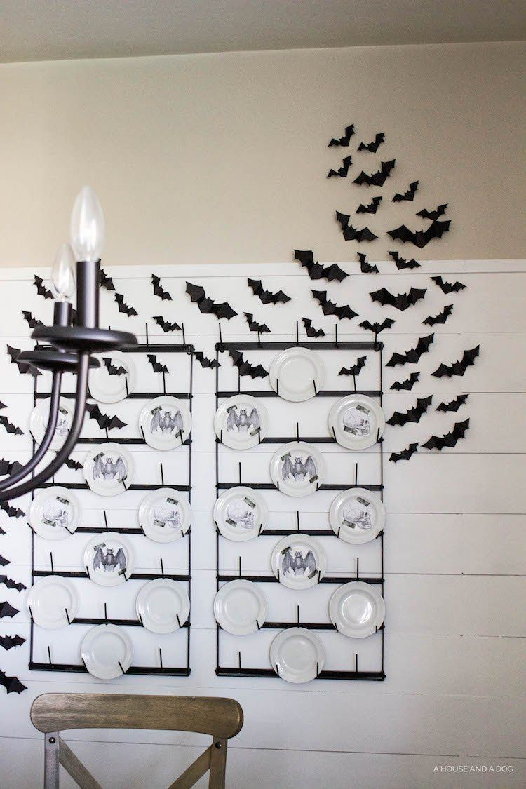 Halloween Dining Room & Bat Wall DIY | ahouseandadog.com | Halloween ...