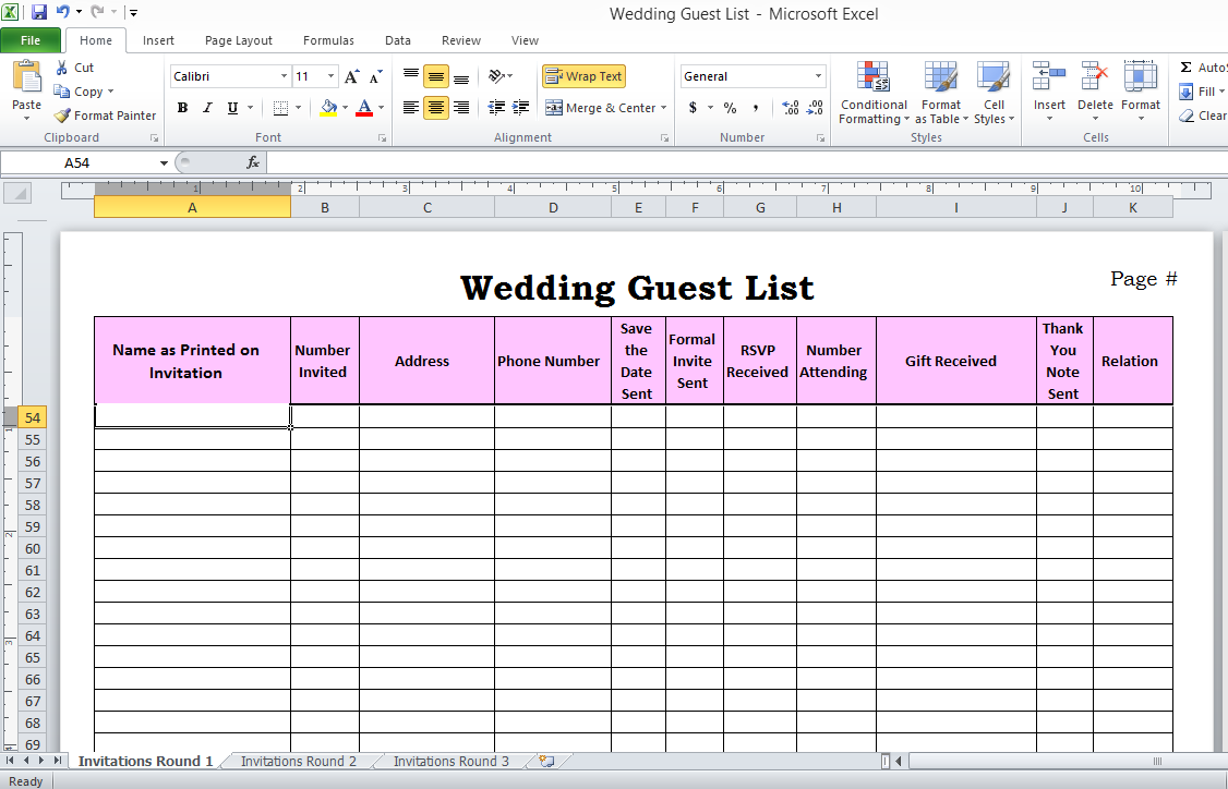 Wedding List Spreadsheet