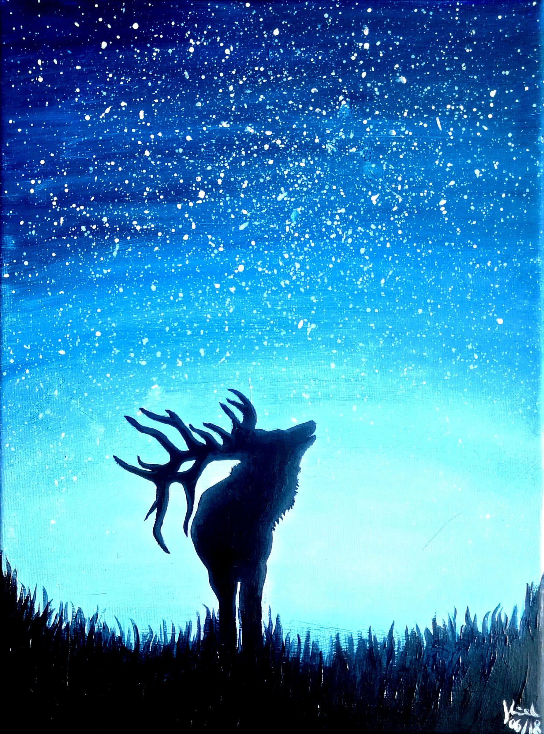 Artmasters Roaring Deer Acryl Leinwand Hirsch Geweih