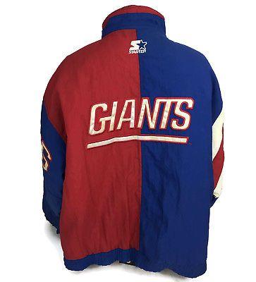 Vintage 1990s New York Giants NFL Color Block Spellout Jacket Coat Parka Size  XL 98a36e134
