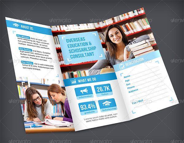 Brosur Sekolah Education Trifold Brochure 2 Download Pinterest