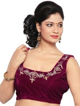 16e704b5da9bed embroidered velvet square-neck sleeveless blouses | Designer blouses ...