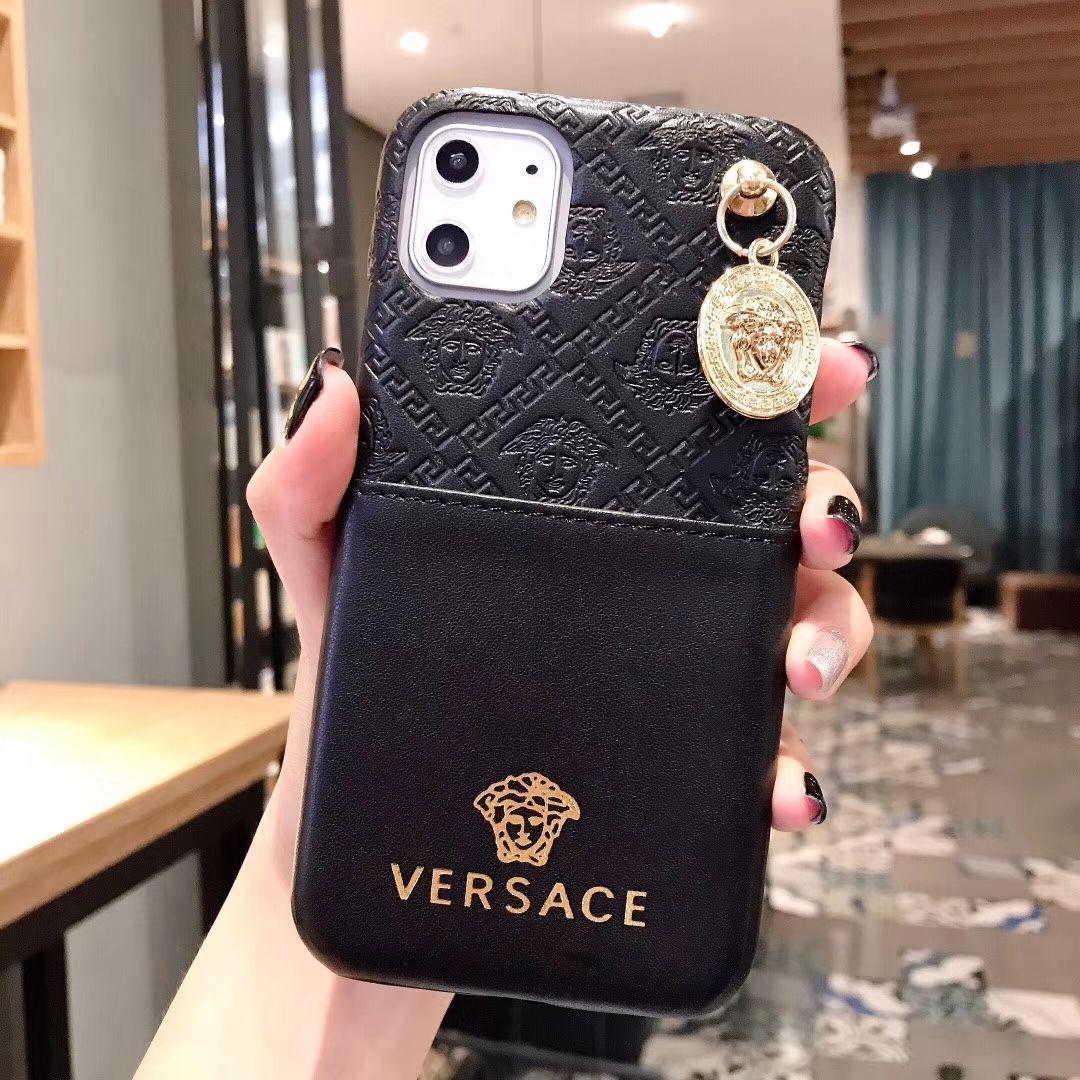 2658 versace metal strap flip leather cases ribbon back