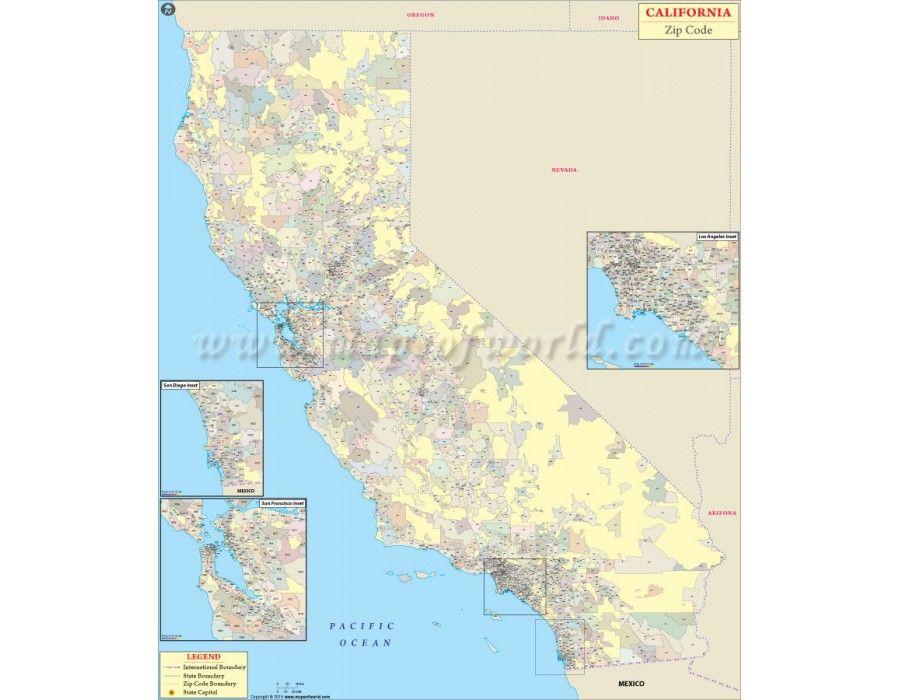 Buy California Zip Code Map Online | Download Online in Digital ...