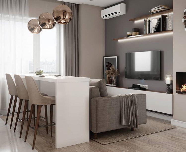 Кухня-гостиная в Москве 15 кв.м. 👌🎄 | Камин в гостиной ...