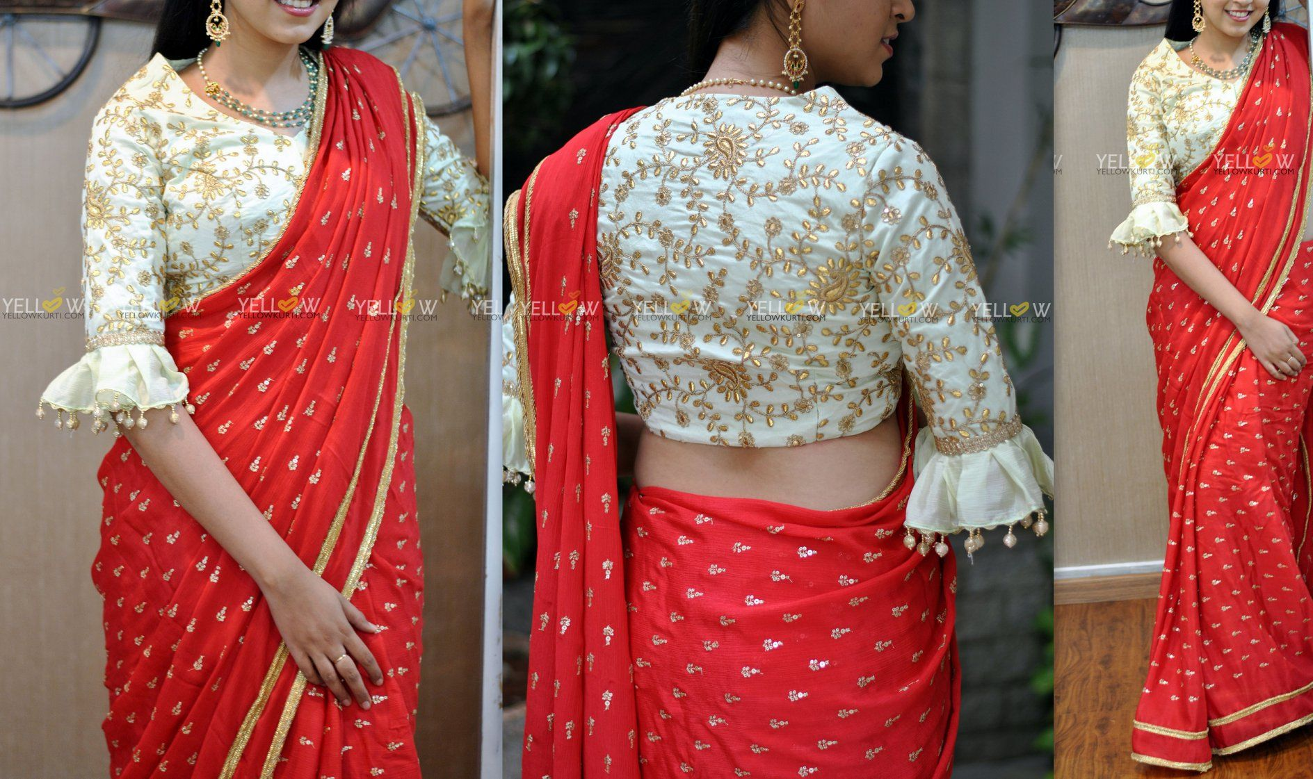 a7eef2c7da192 Bright Red sequin worked Chiffon saree with golden borders .Blouse - Mint  green embroidered blouse material as in the picture.Price - 5500 INR .