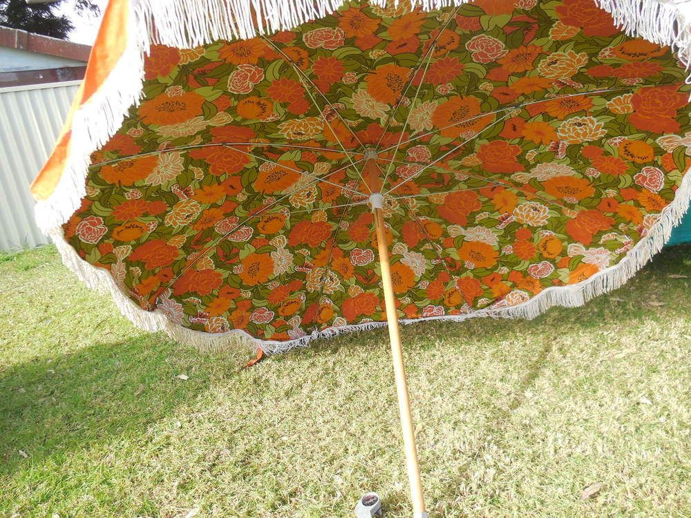 Large Vintage Retro Beach Umbrella Orange Flowers Tels Australian Made