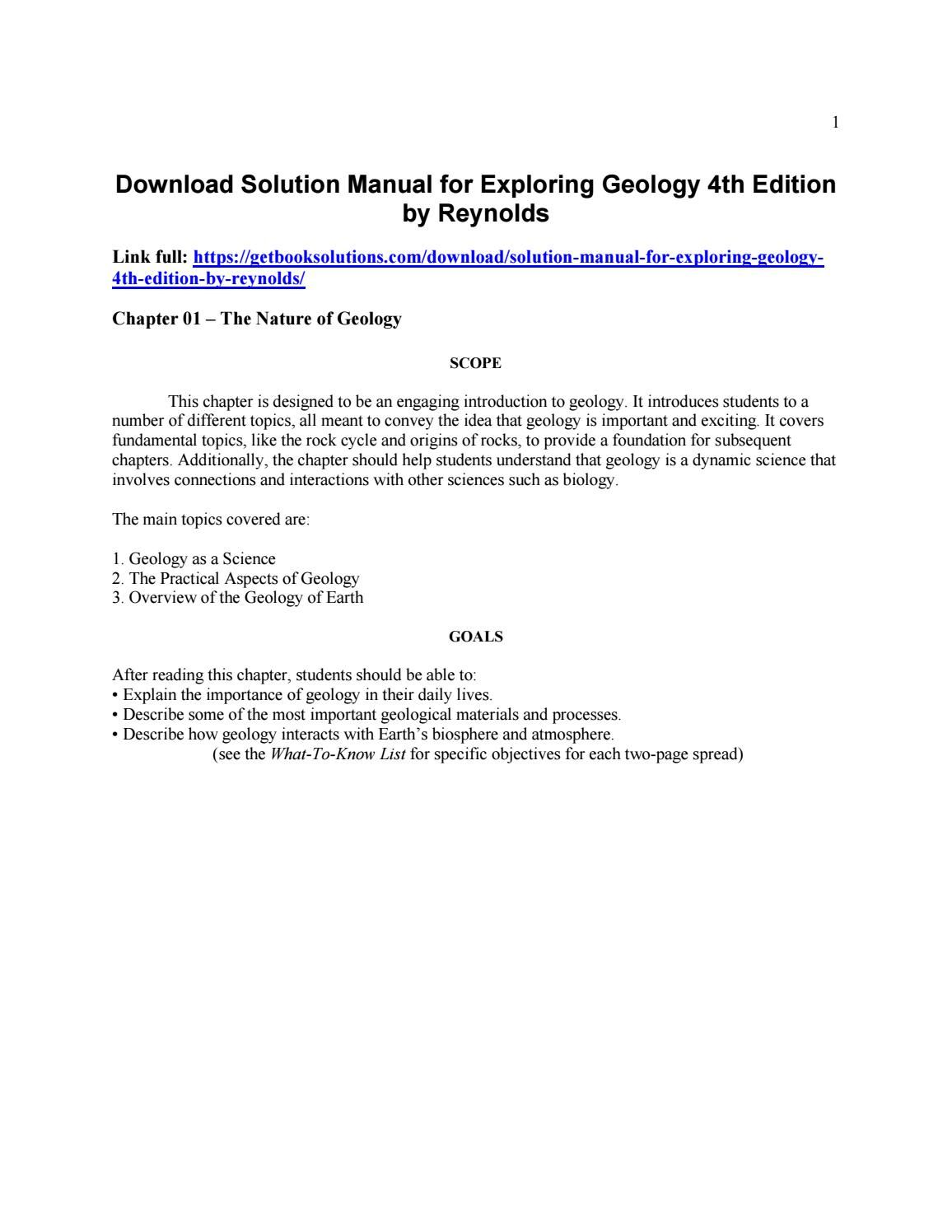 Download solution manual for exploring geology 4th edition by reynolds | solution  manual | Pinterest | Geology