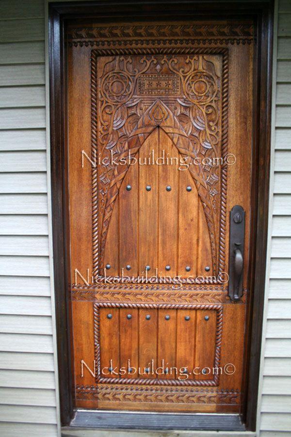 Hand carved door exterior wood