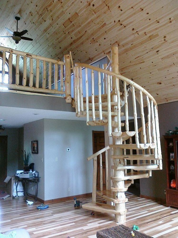 Rustic Log Spiral Staircase/Stairway   PRICE PER STEP!  Circular Round  Stairs