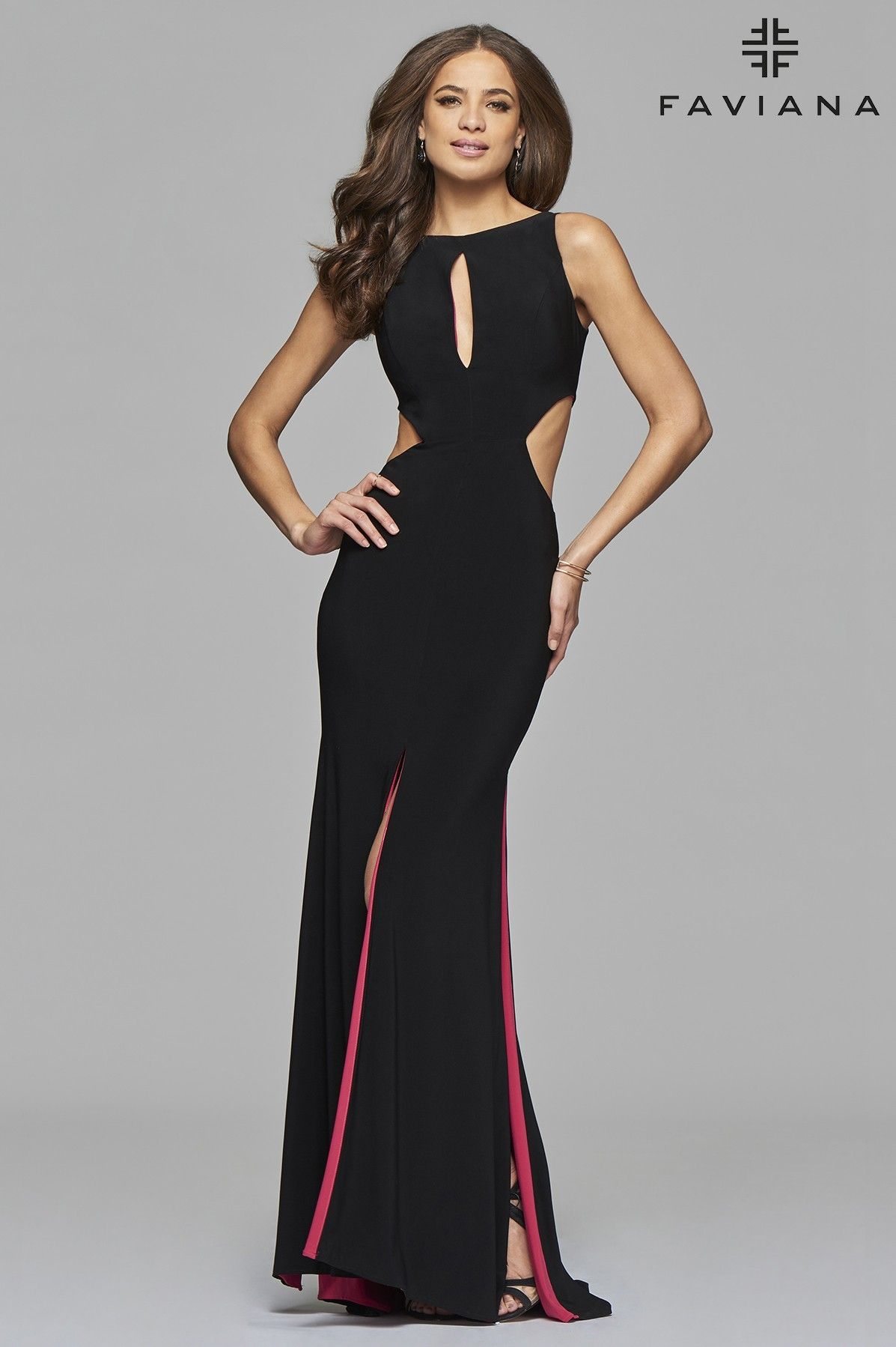 Jersey high neck evening dress with keyhole side cutouts and