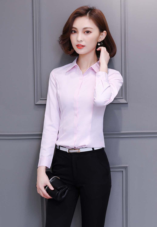 Casual pink dress shirt  Pink plain long sleeve concealed button shirt